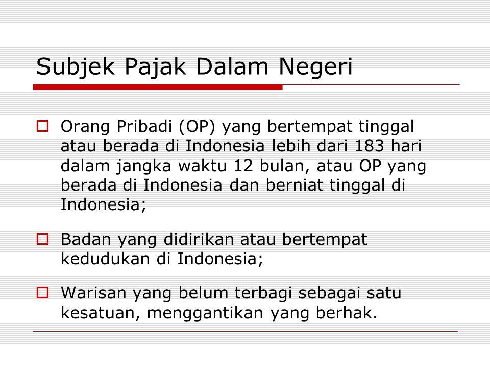 Subjek Pajak Dalam Negeri  Orang Pribadi (OP) yang bertempat tinggal atau berada di Indonesia lebih dari 183 hari dalam jangka waktu 12 bulan, atau O