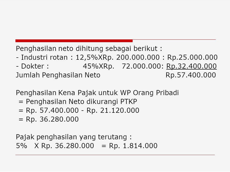 Penghasilan neto dihitung sebagai berikut : - Industri rotan : 12,5%XRp. 200.000.000 : Rp.25.000.000 - Dokter : 45%XRp. 72.000.000: Rp.32.400.000 Juml