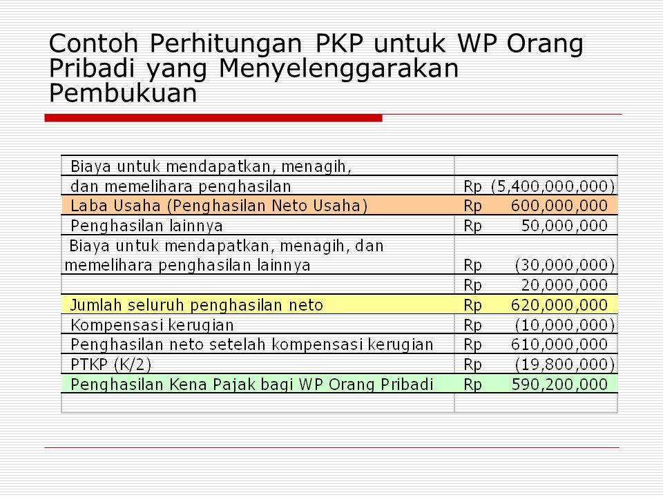 Contoh Perhitungan PKP untuk WP Orang Pribadi yang Menyelenggarakan Pembukuan