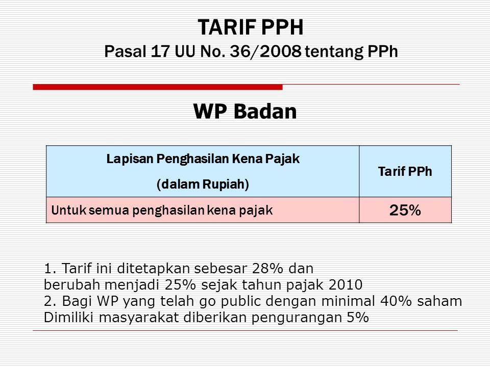 TARIF PPH Pasal 17 UU No. 36/2008 tentang PPh Lapisan Penghasilan Kena Pajak Tarif PPh (dalam Rupiah) Untuk semua penghasilan kena pajak 25% WP Badan