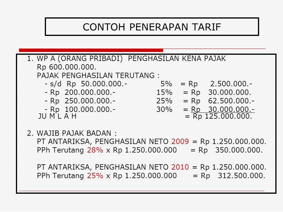 CONTOH PENERAPAN TARIF 1. WP A (ORANG PRIBADI) PENGHASILAN KENA PAJAK Rp 600.000.000. PAJAK PENGHASILAN TERUTANG : - s/d Rp 50.000.000.- 5% = Rp 2.500