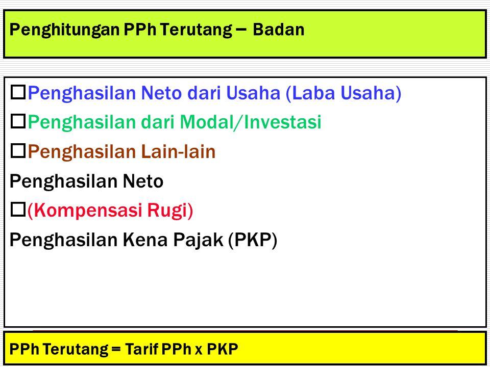 Penghitungan PPh Terutang – Badan  Penghasilan Neto dari Usaha (Laba Usaha)  Penghasilan dari Modal/Investasi  Penghasilan Lain-lain Penghasilan Ne