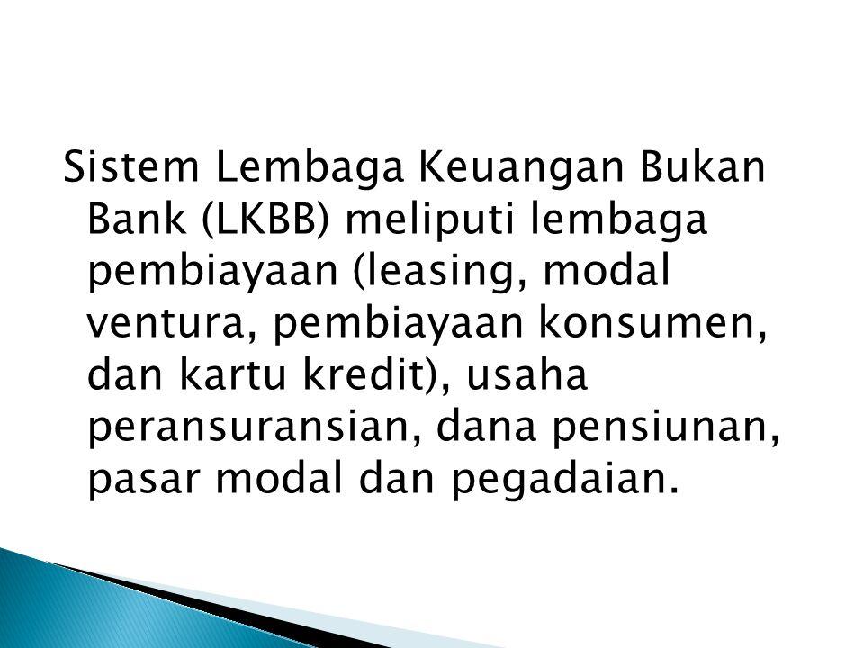 Sistem Lembaga Keuangan Bukan Bank (LKBB) meliputi lembaga pembiayaan (leasing, modal ventura, pembiayaan konsumen, dan kartu kredit), usaha peransura