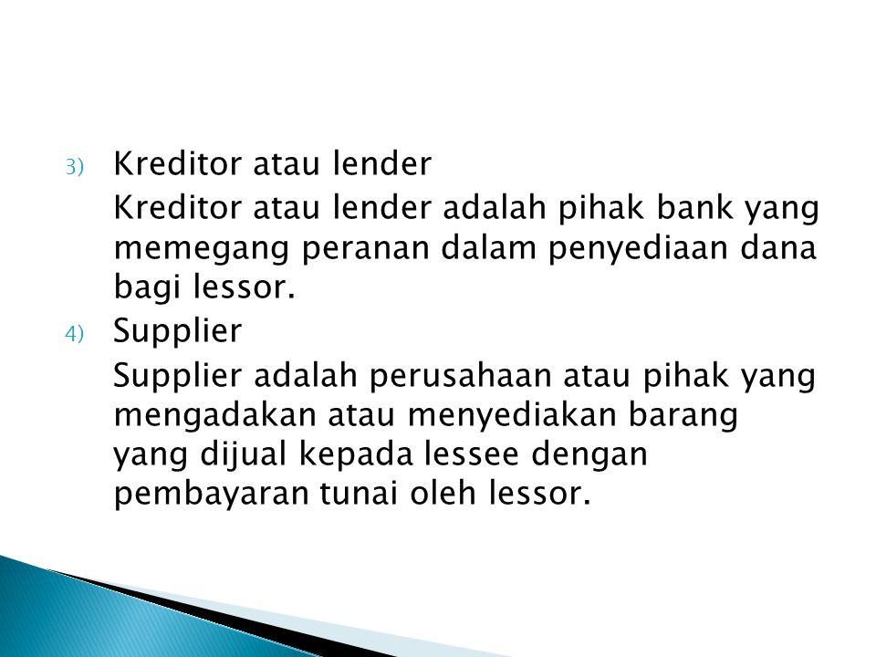 3) Kreditor atau lender Kreditor atau lender adalah pihak bank yang memegang peranan dalam penyediaan dana bagi lessor. 4) Supplier Supplier adalah pe