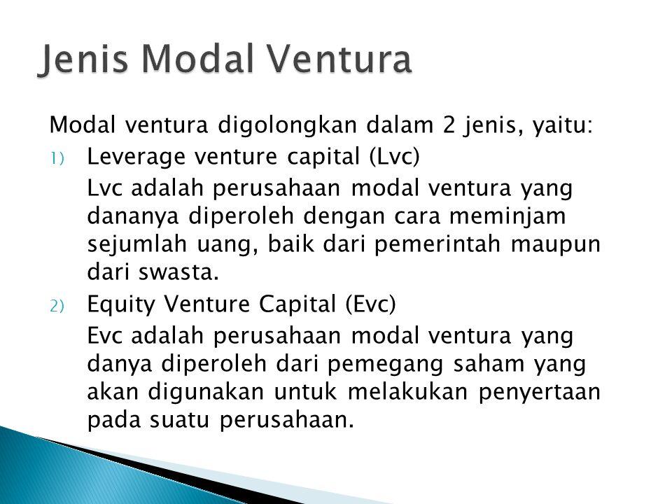Modal ventura digolongkan dalam 2 jenis, yaitu: 1) Leverage venture capital (Lvc) Lvc adalah perusahaan modal ventura yang dananya diperoleh dengan ca