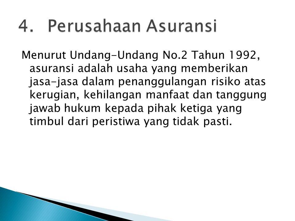Menurut Undang-Undang No.2 Tahun 1992, asuransi adalah usaha yang memberikan jasa-jasa dalam penanggulangan risiko atas kerugian, kehilangan manfaat d