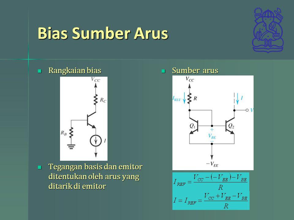 Bias Sumber Arus Rangkaian bias Rangkaian bias Tegangan basis dan emitor ditentukan oleh arus yang ditarik di emitor Tegangan basis dan emitor ditentukan oleh arus yang ditarik di emitor Sumber arus Sumber arus