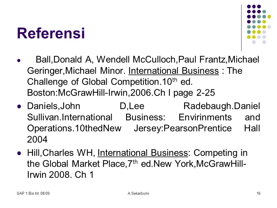 SAP 1 Bis Int 08/09A Sekarbumi16 Referensi Ball,Donald A, Wendell McCulloch,Paul Frantz,Michael Geringer,Michael Minor. International Business : The C