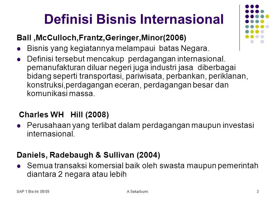 SAP 1 Bis Int 08/09A Sekarbumi4 Karakteristik yang membedakan bisnis internasional dan domestik adalah bisnis internasional melibatkan aktivitas yang melintas batas.