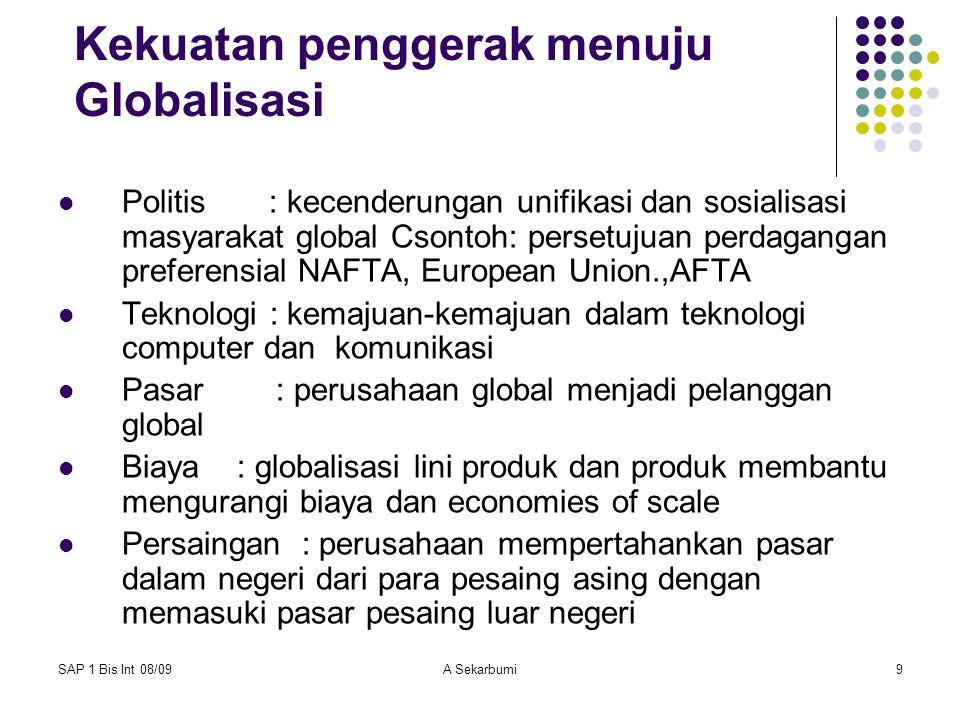 SAP 1 Bis Int 08/09A Sekarbumi10 What is Globalization Pergeseran keadaan menuju perekonomian dunia yang lebih terintegrasi dan saling bergantung satu sama lain Diantara beberapa pergeseran adalah: globalisasi pasar globalisasi produk