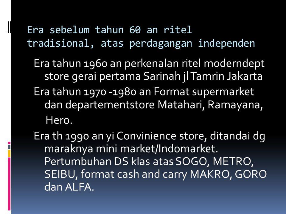 Era sebelum tahun 60 an ritel tradisional, atas perdagangan independen Era tahun 1960 an perkenalan ritel moderndept store gerai pertama Sarinah jl Ta