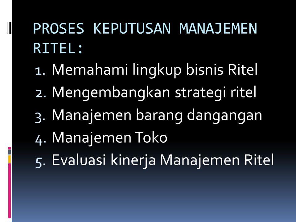 PROSES KEPUTUSAN MANAJEMEN RITEL: 1. Memahami lingkup bisnis Ritel 2. Mengembangkan strategi ritel 3. Manajemen barang dangangan 4. Manajemen Toko 5.