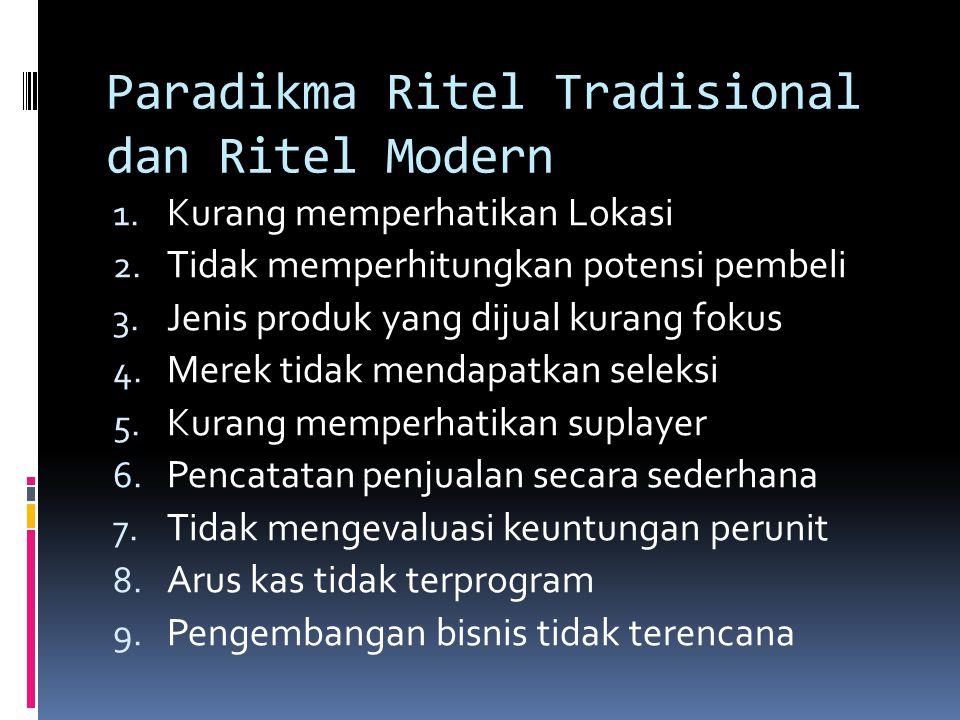 Paradikma Ritel Tradisional dan Ritel Modern 1. Kurang memperhatikan Lokasi 2. Tidak memperhitungkan potensi pembeli 3. Jenis produk yang dijual kuran