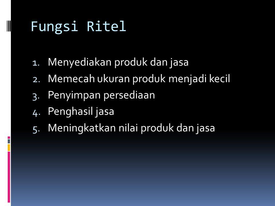 Pengelompokan Bisnis Ritel sumber Levi dan Weit (2004)  Peluang dalam Industri Ritel; 1.