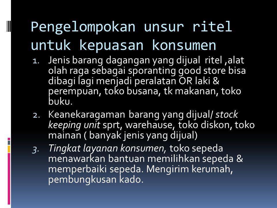 Era sebelum tahun 60 an ritel tradisional, atas perdagangan independen Era tahun 1960 an perkenalan ritel moderndept store gerai pertama Sarinah jl Tamrin Jakarta Era tahun 1970 -1980 an Format supermarket dan departementstore Matahari, Ramayana, Hero.