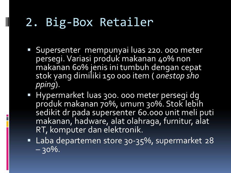 2. Big-Box Retailer  Supersenter mempunyai luas 220. 000 meter persegi. Variasi produk makanan 40% non makanan 60% jenis ini tumbuh dengan cepat stok
