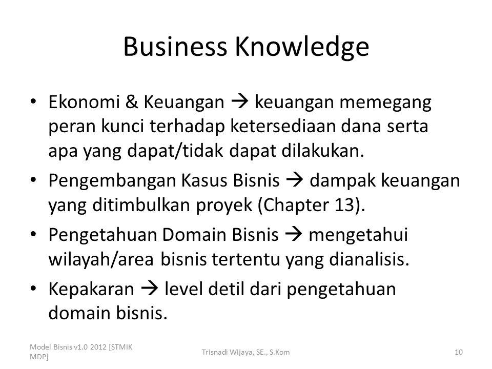 Business Knowledge Ekonomi & Keuangan  keuangan memegang peran kunci terhadap ketersediaan dana serta apa yang dapat/tidak dapat dilakukan. Pengemban
