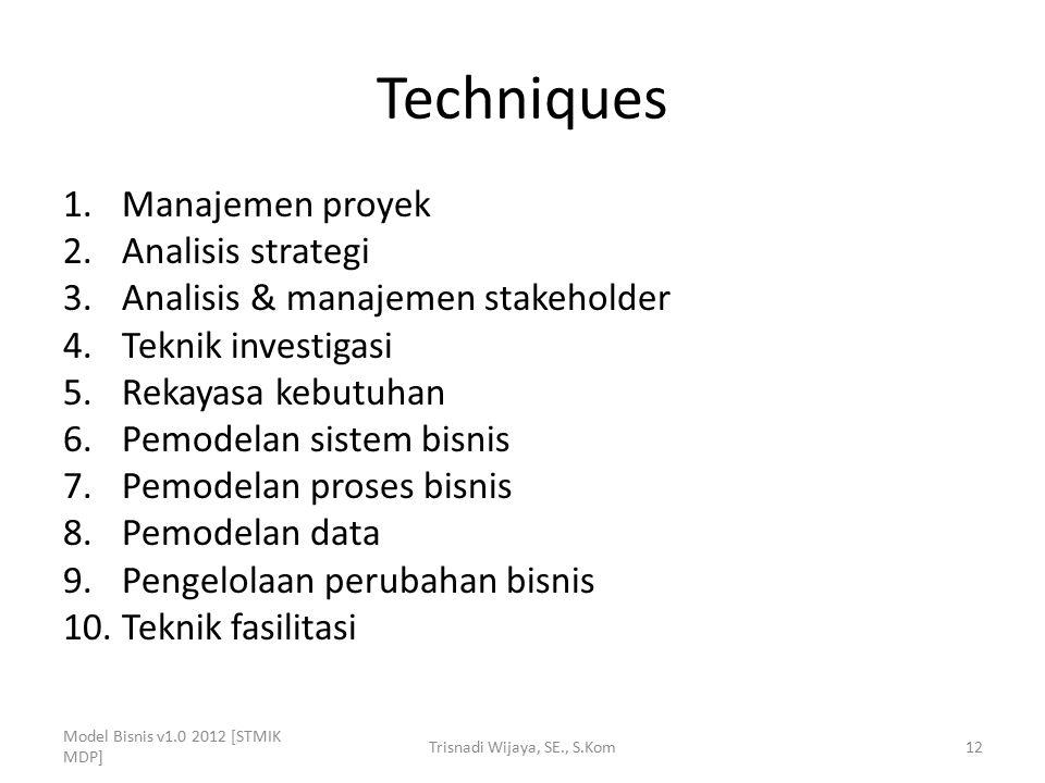 Techniques 1.Manajemen proyek 2.Analisis strategi 3.Analisis & manajemen stakeholder 4.Teknik investigasi 5.Rekayasa kebutuhan 6.Pemodelan sistem bisn