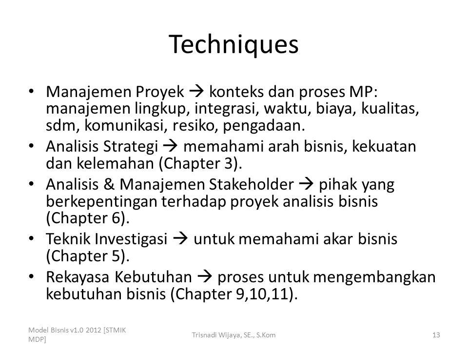 Techniques Manajemen Proyek  konteks dan proses MP: manajemen lingkup, integrasi, waktu, biaya, kualitas, sdm, komunikasi, resiko, pengadaan. Analisi