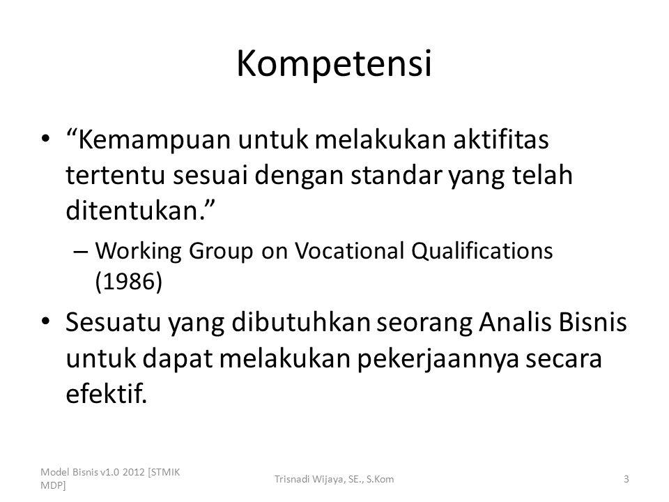 """Kompetensi """"Kemampuan untuk melakukan aktifitas tertentu sesuai dengan standar yang telah ditentukan."""" – Working Group on Vocational Qualifications (1"""