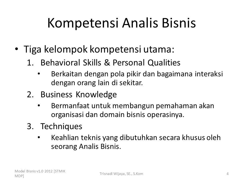 Kompetensi Analis Bisnis Tiga kelompok kompetensi utama: 1.Behavioral Skills & Personal Qualities Berkaitan dengan pola pikir dan bagaimana interaksi