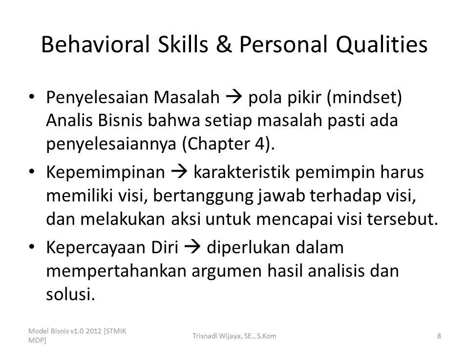 Behavioral Skills & Personal Qualities Penyelesaian Masalah  pola pikir (mindset) Analis Bisnis bahwa setiap masalah pasti ada penyelesaiannya (Chapt