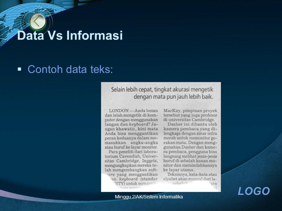 LOGO Minggu 2/AK/Sistem Informatika Data Vs Informasi  Contoh data teks: