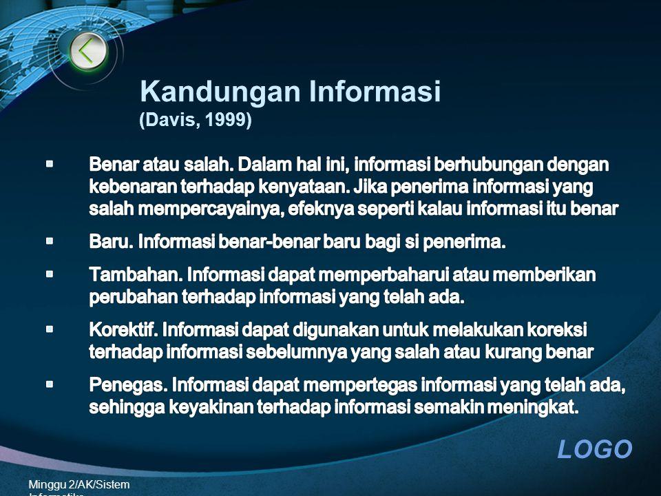 LOGO Minggu 2/AK/Sistem Informatika Kandungan Informasi (Davis, 1999)