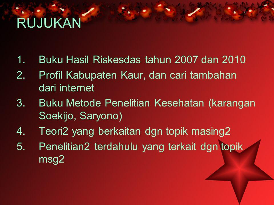 RUJUKAN 1.Buku Hasil Riskesdas tahun 2007 dan 2010 2.Profil Kabupaten Kaur, dan cari tambahan dari internet 3.Buku Metode Penelitian Kesehatan (karang