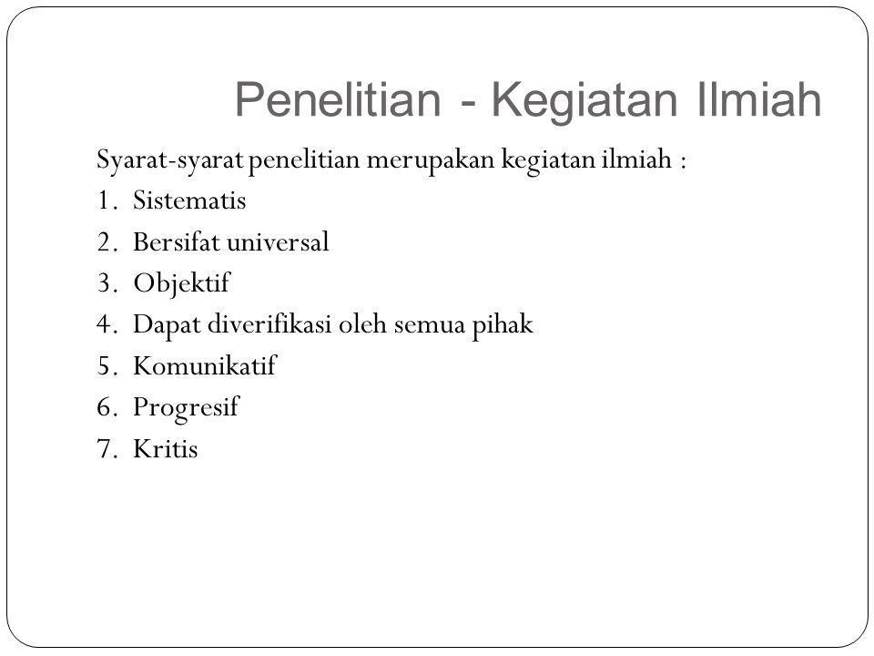Penelitian - Kegiatan Ilmiah 22 Syarat-syarat penelitian merupakan kegiatan ilmiah : 1. Sistematis 2. Bersifat universal 3. Objektif 4. Dapat diverifi