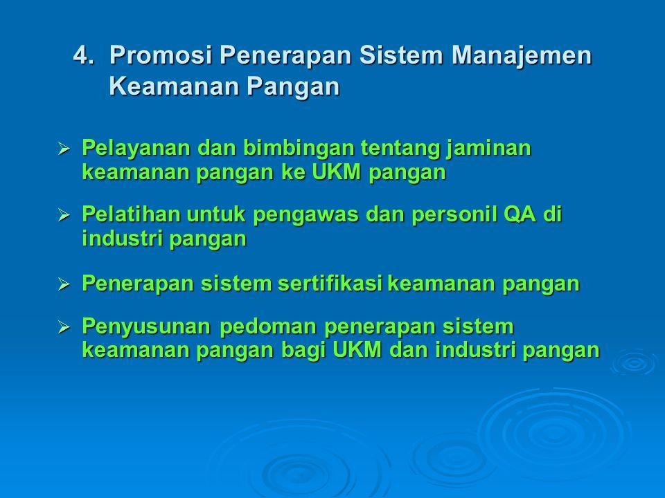 4. Promosi Penerapan Sistem Manajemen Keamanan Pangan  Pelayanan dan bimbingan tentang jaminan keamanan pangan ke UKM pangan  Pelatihan untuk pengaw