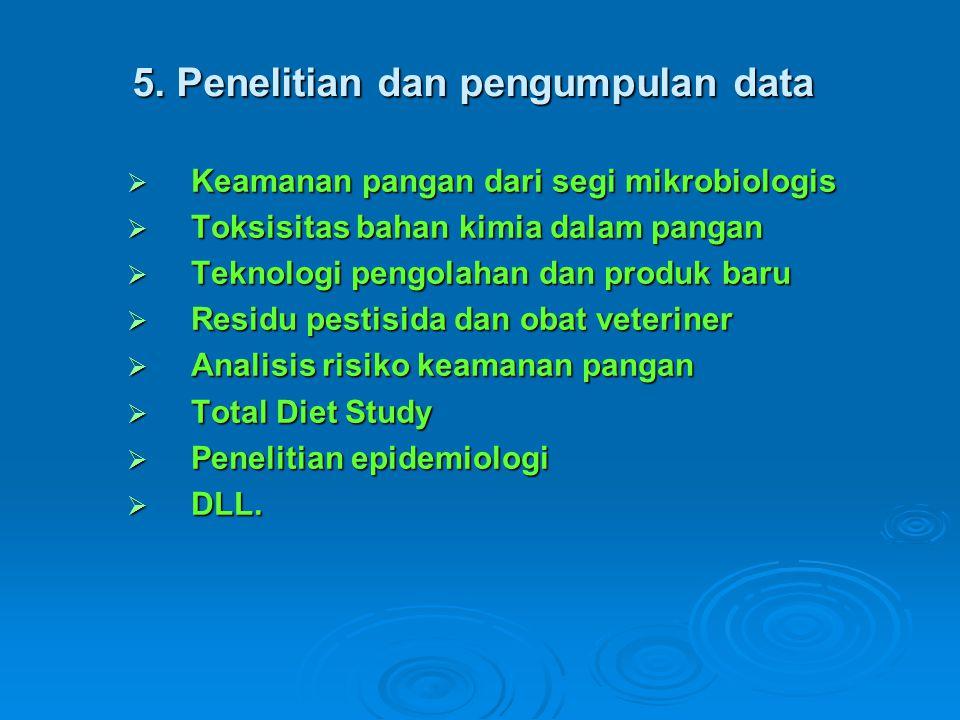 5. Penelitian dan pengumpulan data  Keamanan pangan dari segi mikrobiologis  Toksisitas bahan kimia dalam pangan  Teknologi pengolahan dan produk b