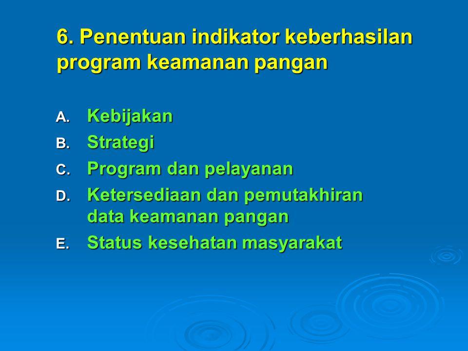 A. Kebijakan B. Strategi C. Program dan pelayanan D.