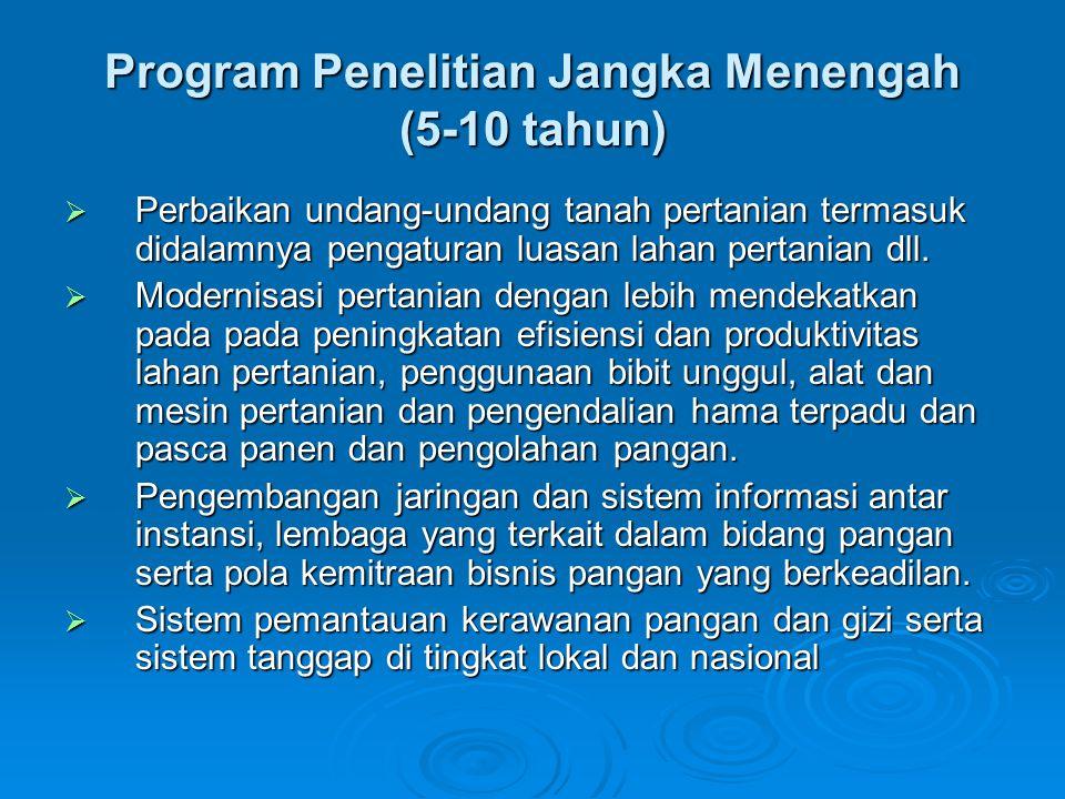 Program Penelitian Jangka Menengah (5-10 tahun)  Perbaikan undang-undang tanah pertanian termasuk didalamnya pengaturan luasan lahan pertanian dll.