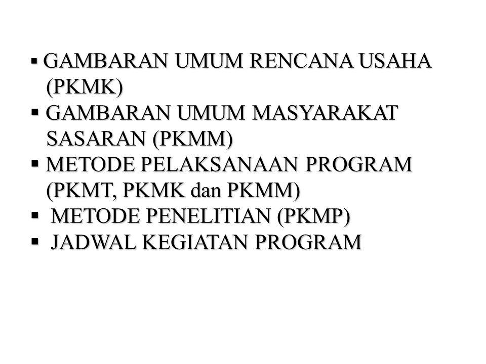  GAMBARAN UMUM RENCANA USAHA (PKMK) (PKMK)  GAMBARAN UMUM MASYARAKAT SASARAN (PKMM) SASARAN (PKMM)  METODE PELAKSANAAN PROGRAM (PKMT, PKMK dan PKMM