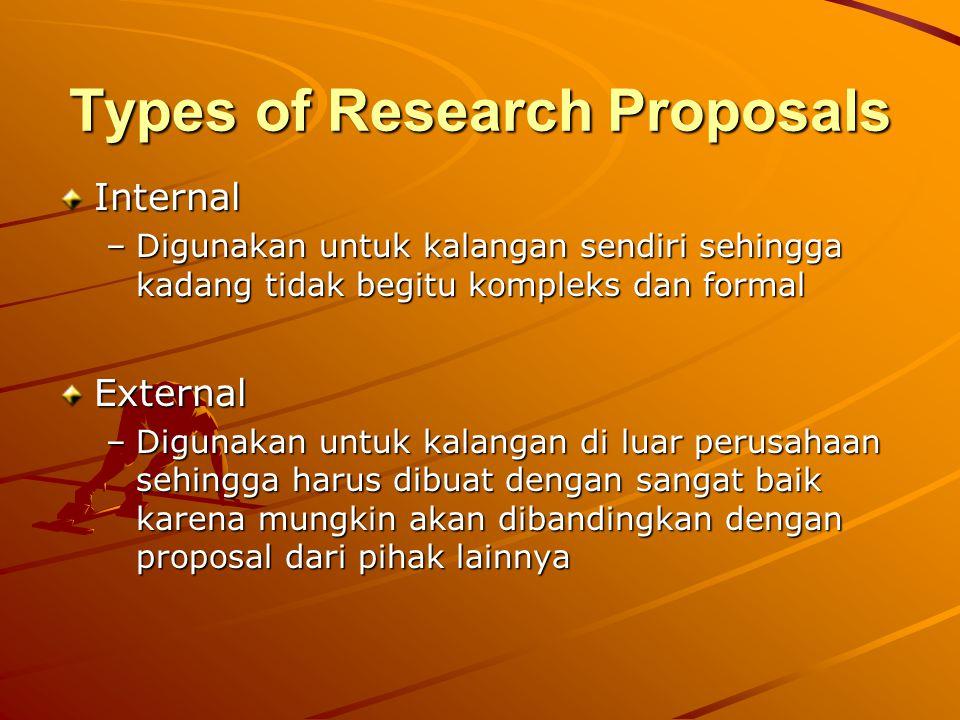 Types of Research Proposals Internal –Digunakan untuk kalangan sendiri sehingga kadang tidak begitu kompleks dan formal External –Digunakan untuk kala