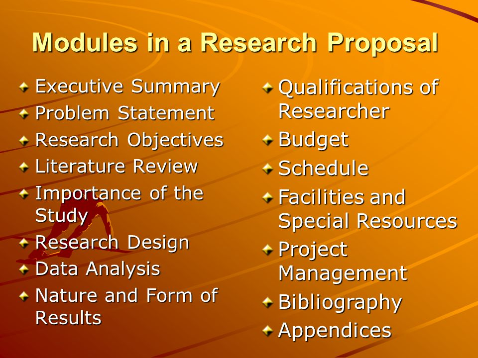Modules in a Research Proposal Executive Summary Problem Statement Research Objectives Literature Review Importance of the Study Research Design Data