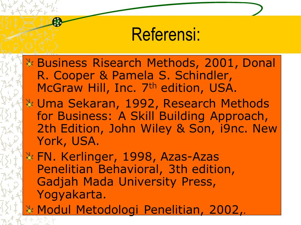 Referensi: Business Risearch Methods, 2001, Donal R.