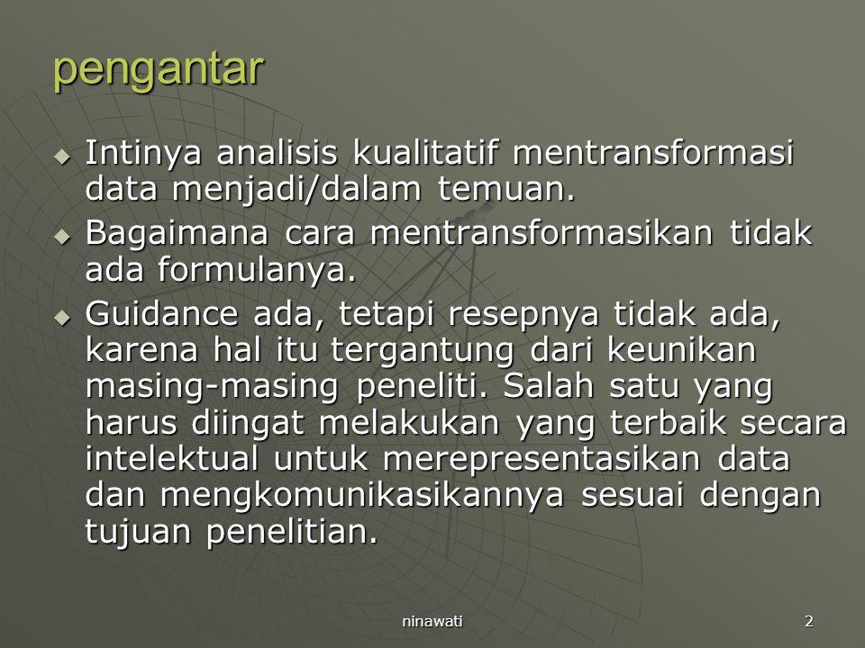 2 pengantar  Intinya analisis kualitatif mentransformasi data menjadi/dalam temuan.  Bagaimana cara mentransformasikan tidak ada formulanya.  Guida