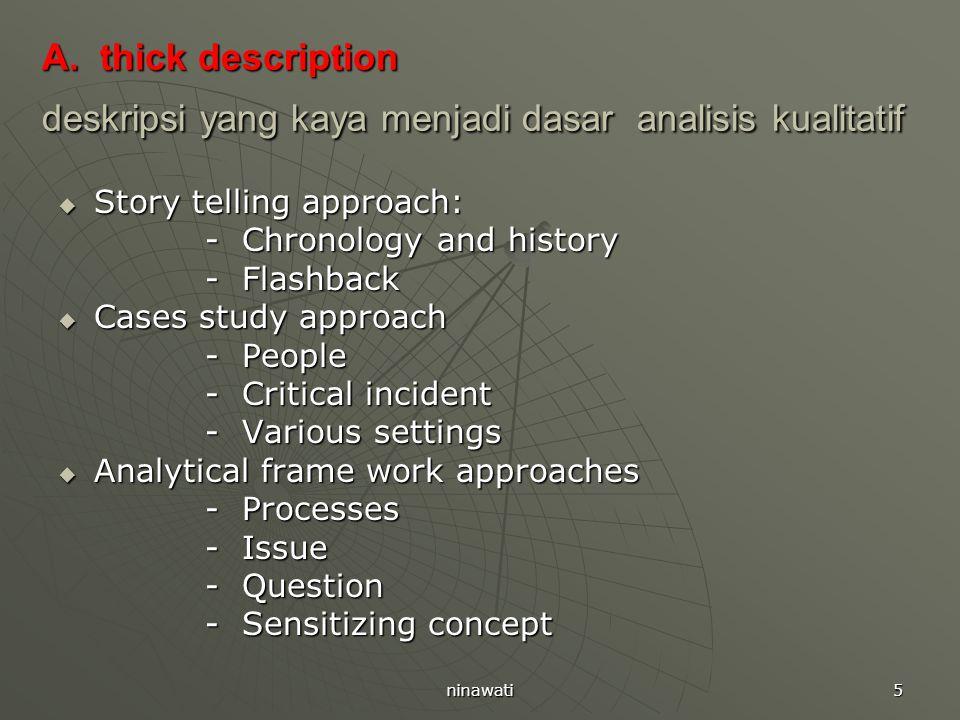 ninawati 5 A. thick description deskripsi yang kaya menjadi dasar analisis kualitatif  Story telling approach: - Chronology and history - Chronology