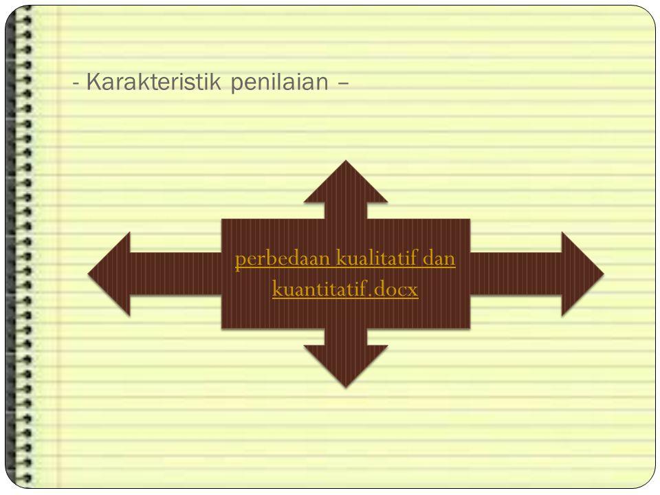 - Karakteristik penilaian – perbedaan kualitatif dan kuantitatif.docx perbedaan kualitatif dan kuantitatif.docx