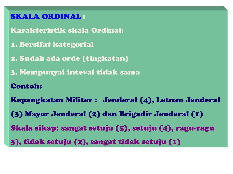 SKALA NOMINAL : Karakteristik Skala Nominal: 1. Bersifat kategorial 2. Angka yang tertera hanya berupa label tidak punya makna 3. Tidak memiliki order