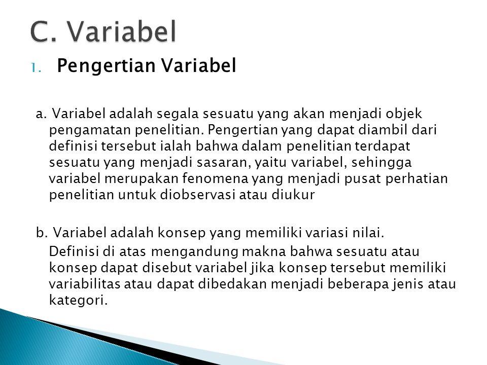 1. Pengertian Variabel a. Variabel adalah segala sesuatu yang akan menjadi objek pengamatan penelitian. Pengertian yang dapat diambil dari definisi te