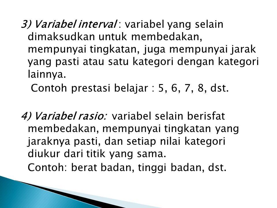3) Variabel interval : variabel yang selain dimaksudkan untuk membedakan, mempunyai tingkatan, juga mempunyai jarak yang pasti atau satu kategori dengan kategori lainnya.