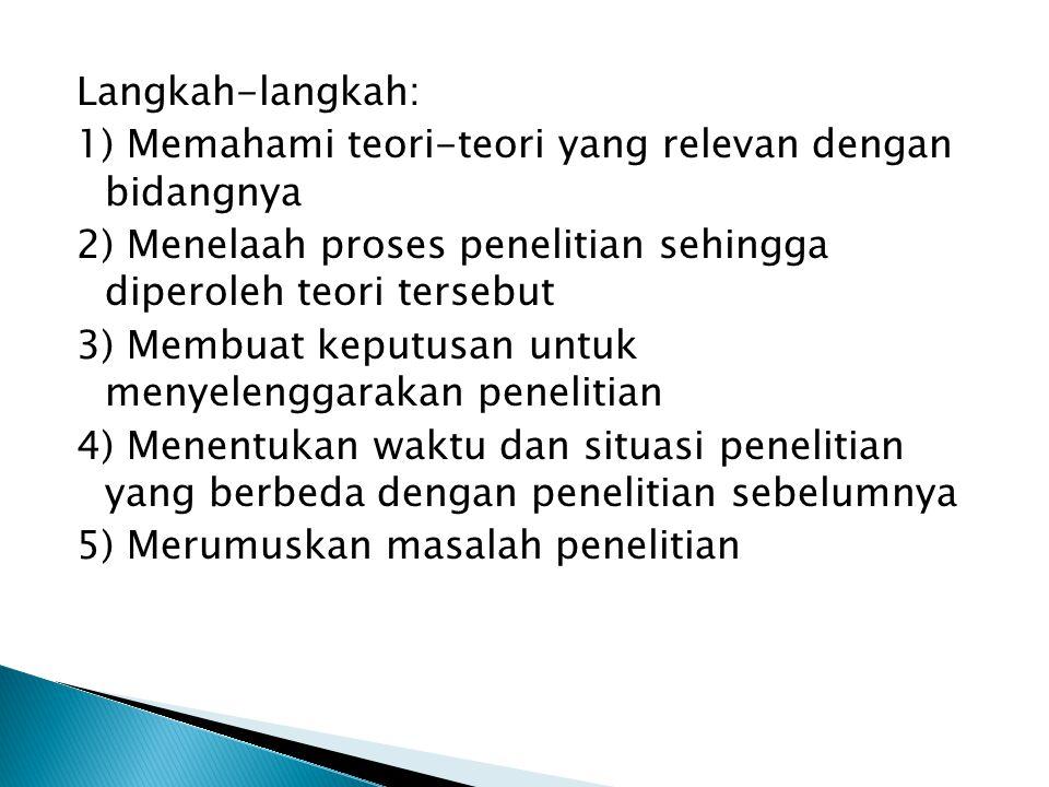 Langkah-langkah: 1) Memahami teori-teori yang relevan dengan bidangnya 2) Menelaah proses penelitian sehingga diperoleh teori tersebut 3) Membuat kepu