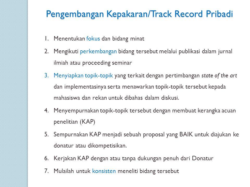 Pengembangan Kepakaran/Track Record Pribadi 1.Menentukan fokus dan bidang minat 2.Mengikuti perkembangan bidang tersebut melalui publikasi dalam jurna