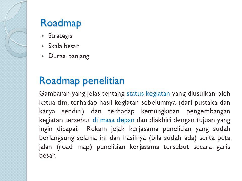 Roadmap Strategis Skala besar Durasi panjang Roadmap penelitian Gambaran yang jelas tentang status kegiatan yang diusulkan oleh ketua tim, terhadap ha