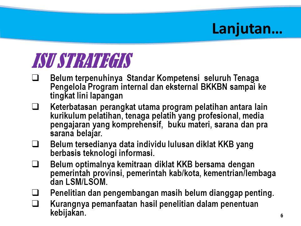 Lanjutan… ISU STRATEGIS  Belum terpenuhinya Standar Kompetensi seluruh Tenaga Pengelola Program internal dan eksternal BKKBN sampai ke tingkat lini l