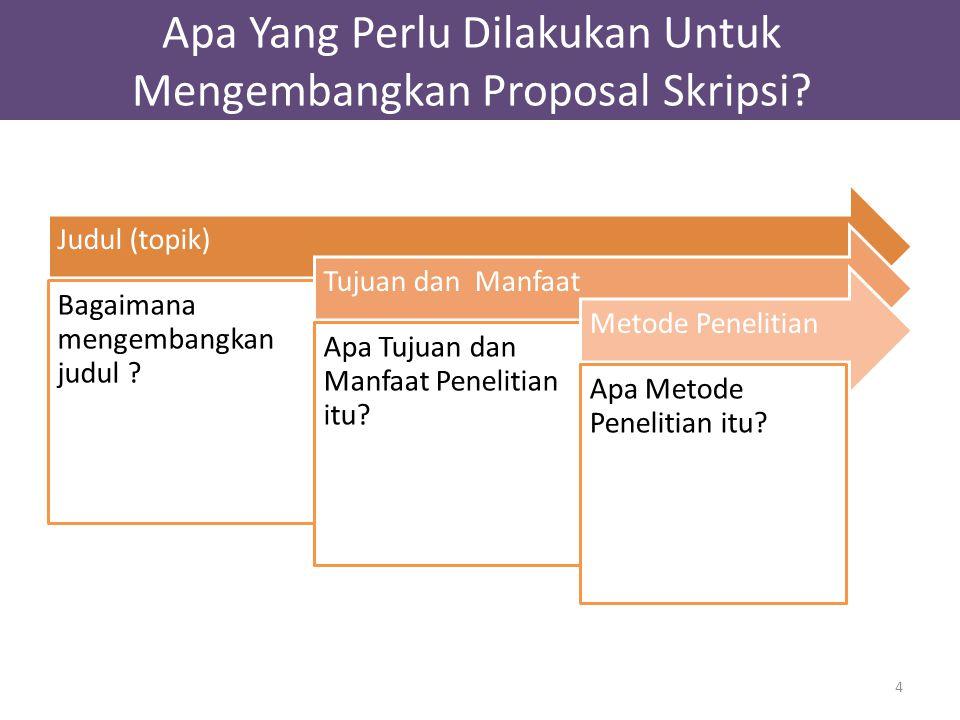 Judul (topik) Bagaimana mengembangkan judul ? Tujuan dan Manfaat Apa Tujuan dan Manfaat Penelitian itu? Metode Penelitian Apa Metode Penelitian itu? 4