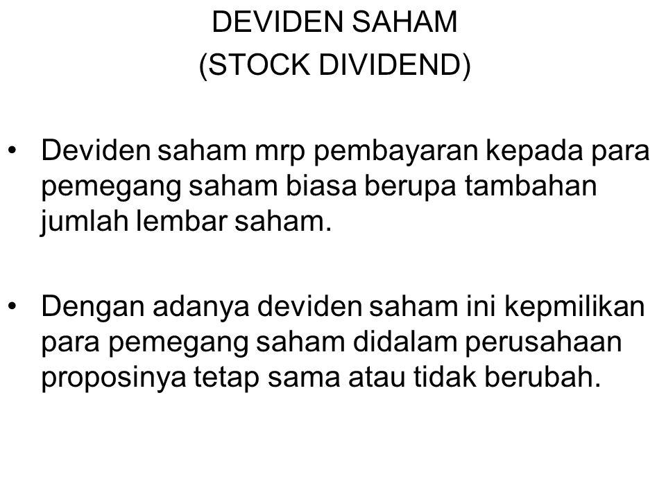 DEVIDEN SAHAM (STOCK DIVIDEND) Deviden saham mrp pembayaran kepada para pemegang saham biasa berupa tambahan jumlah lembar saham. Dengan adanya devide
